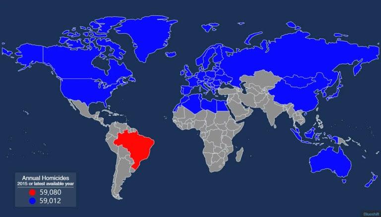 Homicides map: World vs Brazil