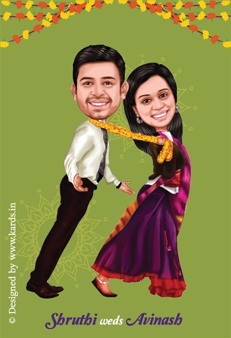 A Tanu weds Manu Style caricature invitation for a funny