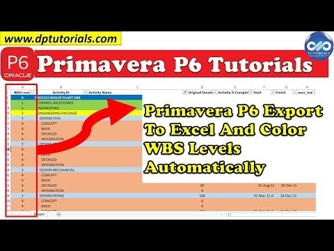 Primavera P6 Export To Excel And Color WBS Levels Automatically