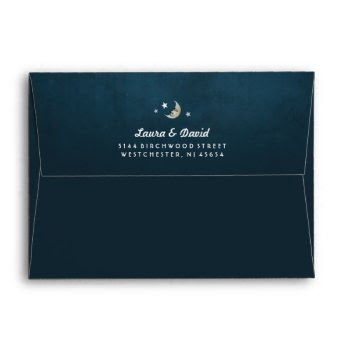 Teal Fade Moon & Stars Matching Wedding Envelope by juliea2010 at Zazzle