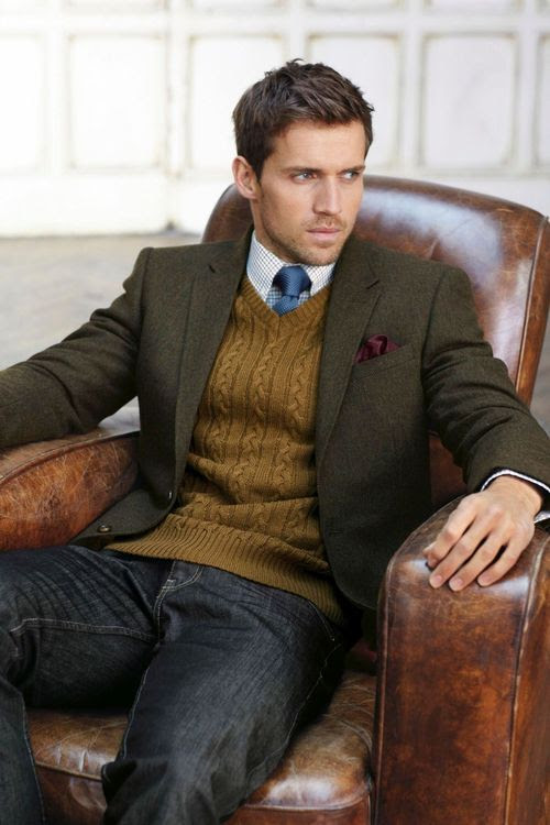 Hello sweater. I love that it's still formal looking with some dark denim!    #Menswear