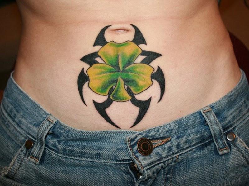 Black tribal with irish clover tattoo on stomach - Tattoos ...