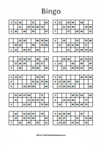 Bingo Cards - Numbers 1-90 - French Teacher Resources