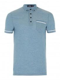 Topman Blue Button Down Polo Shirt