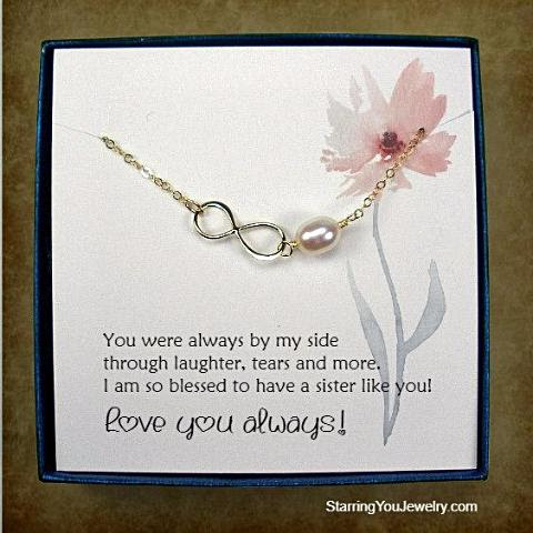 Sister Jewelry Gifts Gold Infinity Necklace Message Card Jewelry
