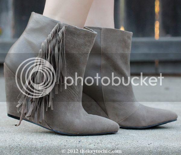 fringe Ziah boot, fringe wedge ankle boots