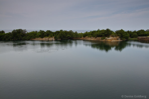 calm, a view of the ocean behind the quarry, Halibut Point