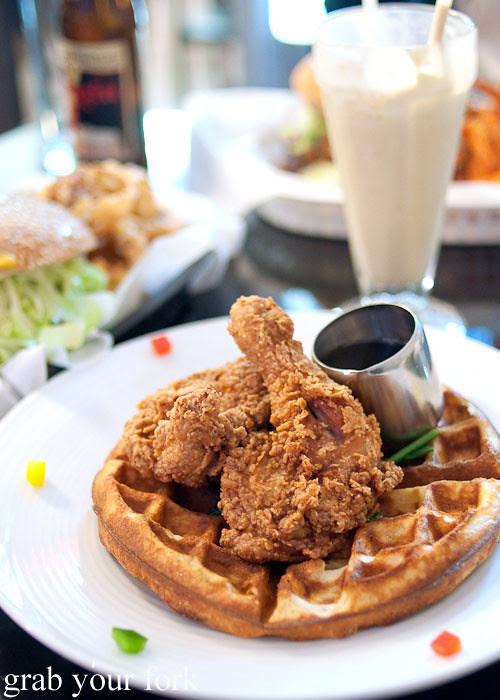 chicken and waffles at jazz city diner darlinghurst