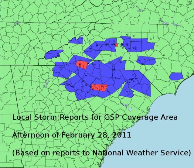 Map based on data reported to the National Weather Service
