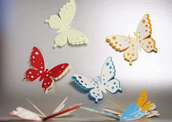 3D Butterfly with Sticker, Wedding Decoration, Home Decor, Cutout ...