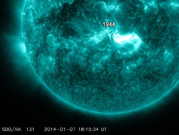 Image of the X1.2 class solar flare from the Sun on January 7, 2014, as seen from the Solar Dynamics Observatory.
