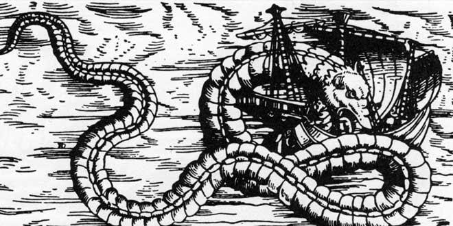 Serpiente Marina. Olaus Magnus, 1555