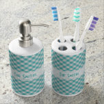Personalize: Teal Gingham Check Pattern Bathroom Set
