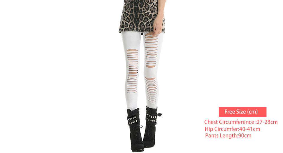 Womens Stretchy Front Ripped Leggings Skinny Ankle Pants (Free Size)