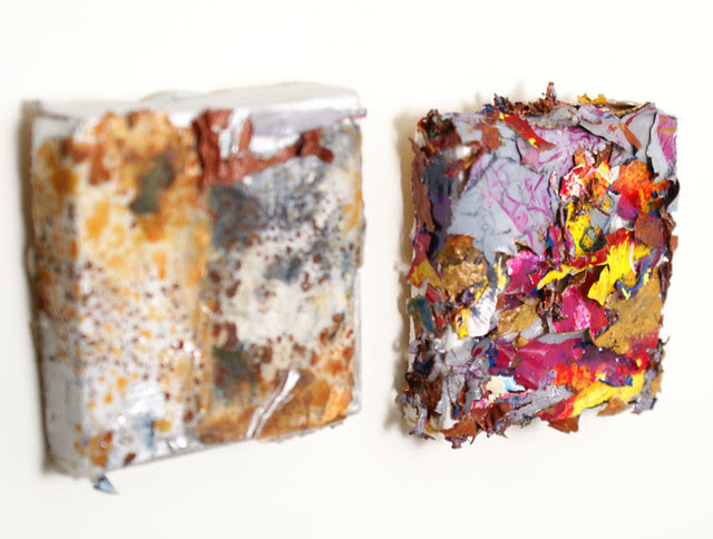 mini paintings made with recycled acrylic paint skins
