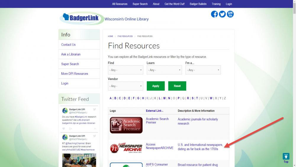 "On each Find Resources page, click on the link in the table under ""Description & More Information"""