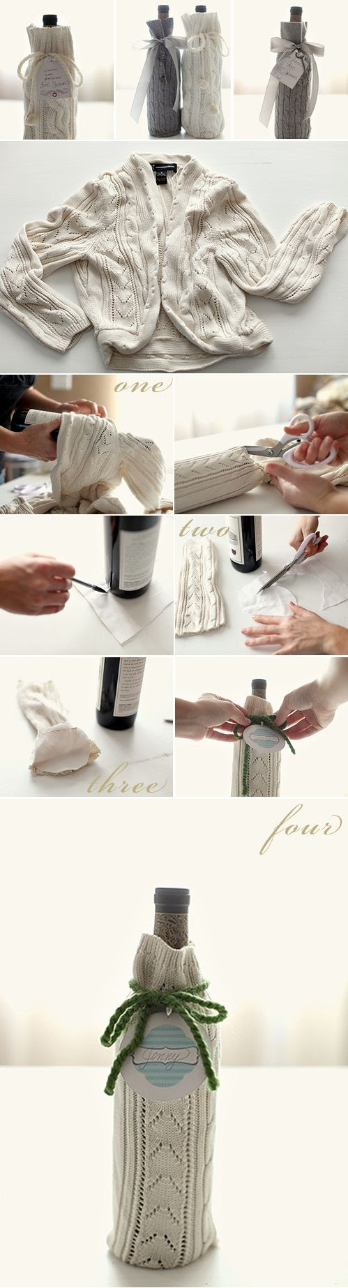Wine bottle cozy: | 30 Easy And Cuddly DIY Ideas For Recycling Old Sweaters