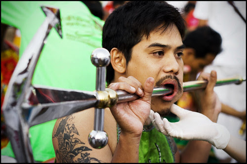 Face Piercing at Sam Kong Shrine 30th September
