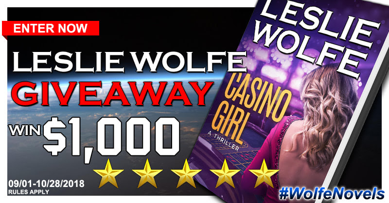 Book Tour Banner for crime thriller Casino Girl by Leslie Wolfe  with a Book Tour Giveaway