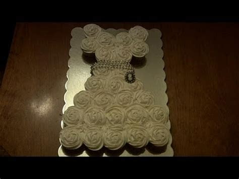 How to Make a Wedding Dress Cupcake Cake   YouTube