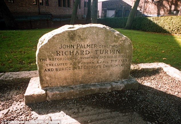 The headstone of 'John Palmer otherwise Richard Turpin the notorious highwayman and horse stealer' who was 'executed' on 7th April 1739 is a fake