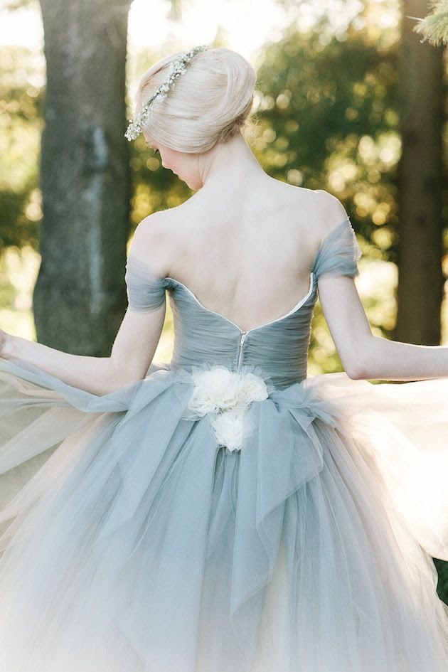 dove grey wedding dress with ivory flower detail by @Sareh Nouri / @millie batista