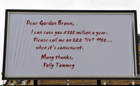Polly Tommey's poster campaign which Gordon Brown said was 'genius'