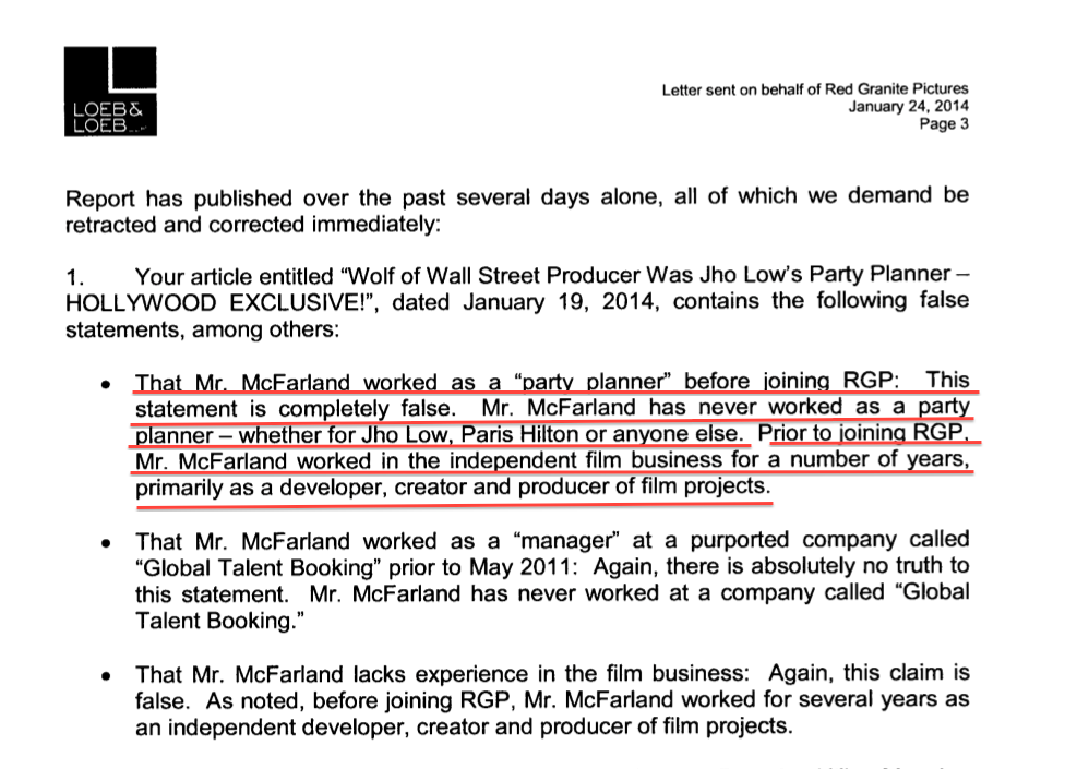Red Granite's legal letter in January claims an extensive film background for McFarland and no talent booking experience. It was a different story in this week's New York Times!
