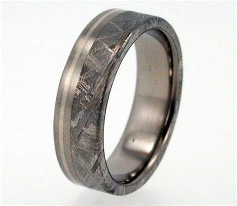 Gibeon Meteorite (4mm) and Sterling Silver inlay Titanium