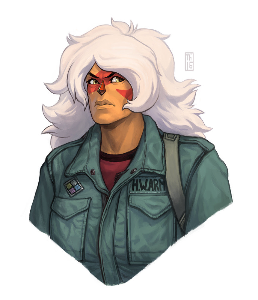 Commission for @sci-phi-guy Jasper in Rambo's jacket.