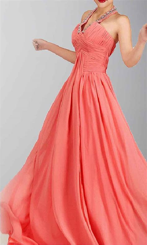 Sequined Halter Neck Coral Pink Empire Formal Dress KSP008