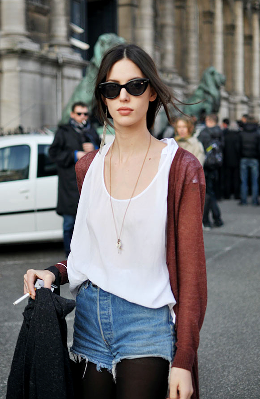 LE FASHION BLOG DENIM SHORTS FALL TRANSITION RUBY ALDRIDGE MODEL OFF DUTY TRENDY CREW RED SHEER CARDIGAN SWEATER SILK WHITE TANK TOP HIGH WAIST DENIM CUT OFF JEAN SHORTS NECKLACE CAT EYE SUNGLASSES FRINGE EARRINGS 1 photo LEFASHIONBLOGDENIMSHORTSFALLTRANSITIONRUBYALDRIDGE1.png