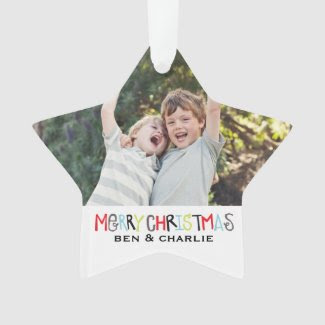 Merry Christmas | Star Ornament Monogram