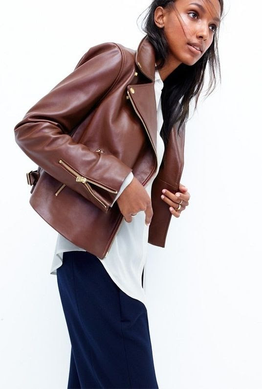 Le Fashion Blog Chic Easy Work Style Fall Looks Burgundy Leather Jacket White Shirt Navy Pants Via JCrew