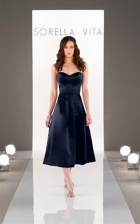 Midi Length Satin Bridesmaid Dress   Sorella Vita