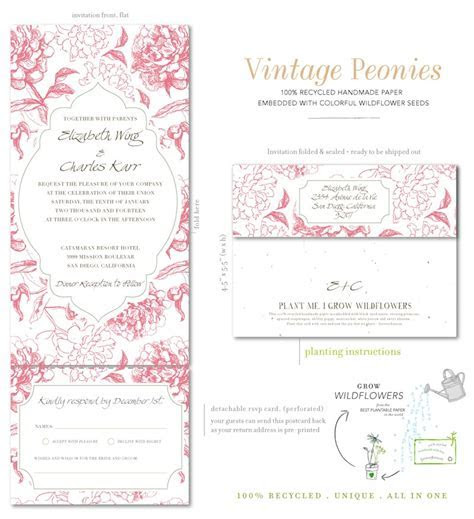 All in One Wedding Invitations on seeded paper  Vintage