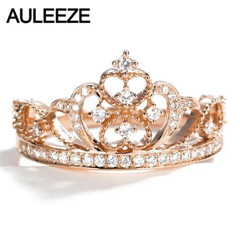 AULEEZE Solid 18k Rose Gold 0.32cttw Real Diamond Crown