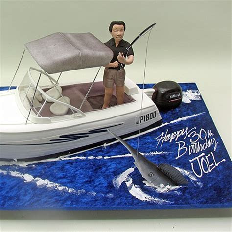 Fishing Man on A Boat Cake