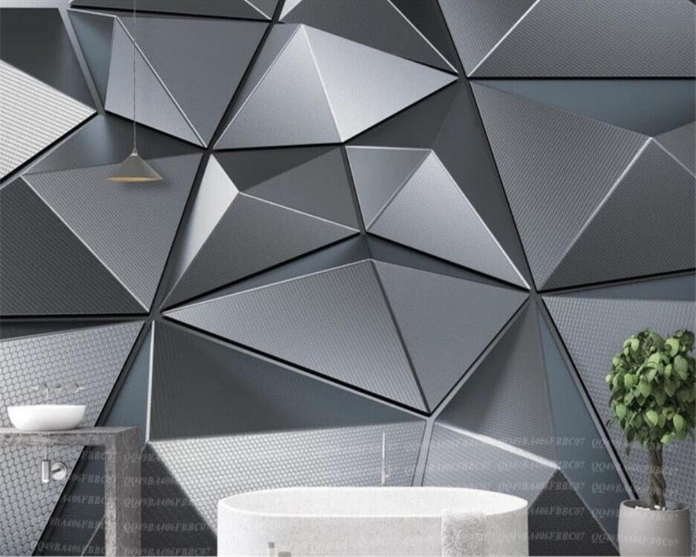 Beibehang Custom Wallpaper 3d Mural Stereo Geometry Atmospheric