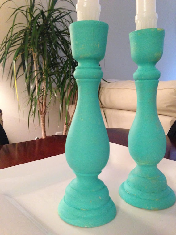 Beach Decor Pillar Candle Holders Set of 2 by KLCapeDesigns