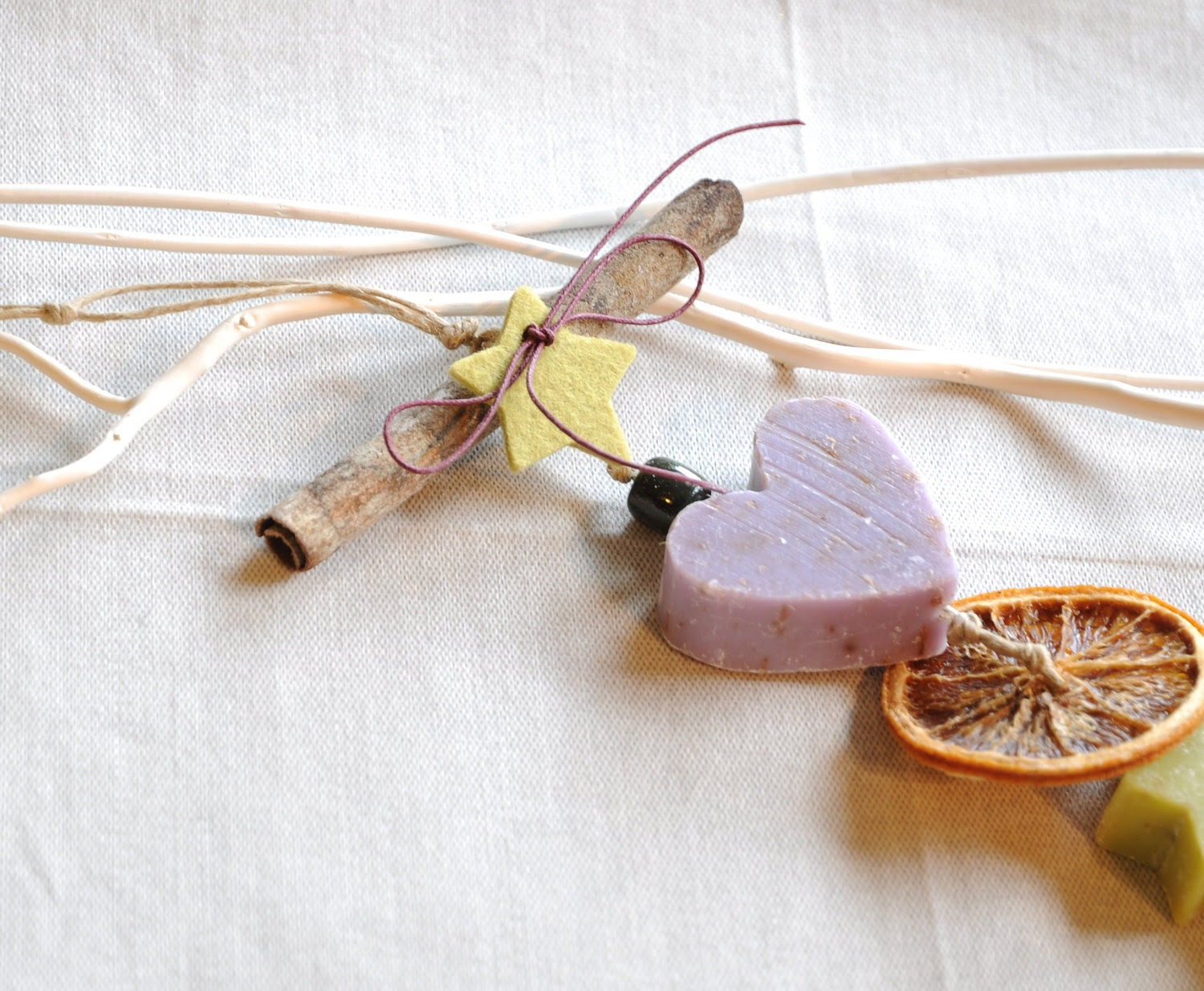 gorgeous  soap Garland    -   made with cinnamon and fragrant soaps French  style