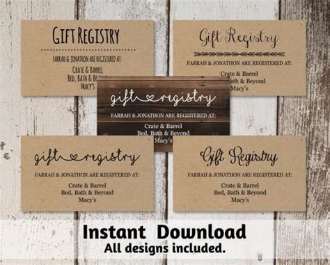Printable Wedding Registry Card Template #2560447   Weddbook