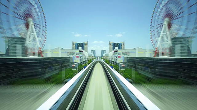 Hyper Drive Yurikamome: Mirrored Hyperlapse of Tokyos Automated Transit System trains Tokyo timelapse public transportation