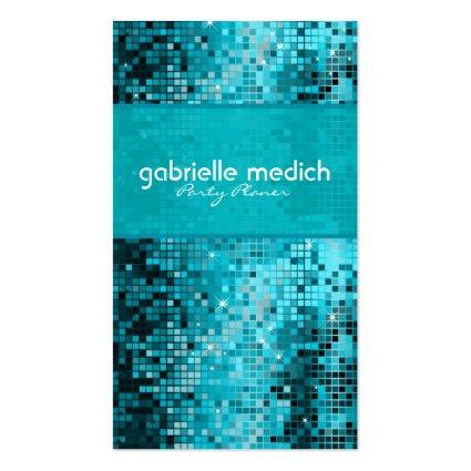 Elegant Blue-Green Glitter Metallic Sequence Business Card