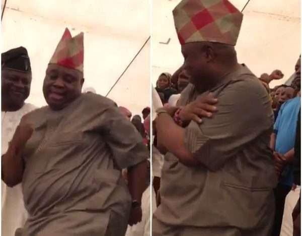 LOL! See How Davido's Uncle, Senator Adeleke Entertains, Dangote With His Dancing Moves