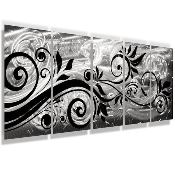 """""""Whispering Winds"""" 68""""x24"""" Large Silver Modern Abstract ..."""