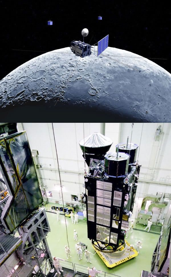 PIC 1: Artist's concept of Kaguya in lunar orbit.  PIC 2: Technicians work on the Kaguya spacecraft in Japan.