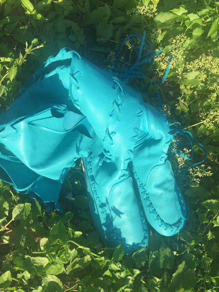 Antique Turquoise Blue Leather Belt Skirt