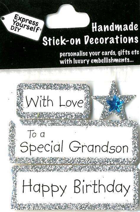 Happy Birthday Special Grandson DIY Greeting Card Toppers