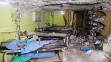 TOPSHOT - A picture taken on April 4, 2017 shows destruction at a hospital room in Khan Sheikhun, a rebel-held town in the northwestern Syrian Idlib province, following a suspected toxic gas attack. A suspected chemical attack killed dozens of civilians including several children in rebel-held northwestern Syria, a monitor said, with the opposition accusing the government and demanding a UN investigation. / AFP PHOTO / Omar haj kadour        (Photo credit should read OMAR HAJ KADOUR/AFP/Getty Images)